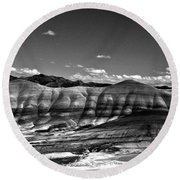 The Painted Hills Bw Round Beach Towel
