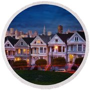 The Painted Ladies Of San Francsico Round Beach Towel