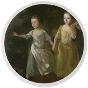 The Painter's Daughters Chasing A Butterfly Round Beach Towel