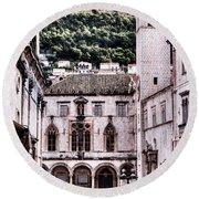 The Palace And The Tower Round Beach Towel
