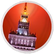 The Palace Of Culture And Science Warsaw Poland  Round Beach Towel by Michal Bednarek