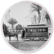 The Palm Beach Trolley Round Beach Towel