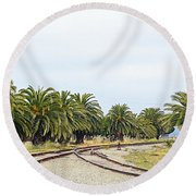 The Palms By The Tracks Round Beach Towel