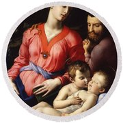 The Panciatichi Holy Family Round Beach Towel