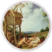 The Parable Of The Wheat And The Tares Round Beach Towel