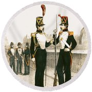 The Parisian Municipale Guard, Formed 29th July 1830 Coloured Engraving Round Beach Towel