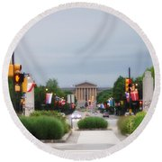 The Parkway And Art Museum Round Beach Towel