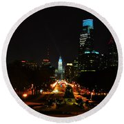 The Parkway At Night Round Beach Towel