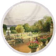 The Parterre Harewood House Near Leeds Round Beach Towel