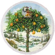 The Partridge In A Pear Tree Round Beach Towel