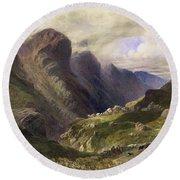 The Pass Of Glencoe, 1852 Round Beach Towel by William Bennett