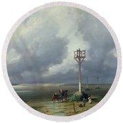 The Passage Du Gois At Noirmoutier, 1859 Oil On Canvas Round Beach Towel