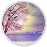 The Pastel Dreams Of Winter Round Beach Towel