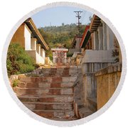 The Path To The Temple Round Beach Towel