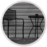 The Patio Chairs In Black And White Round Beach Towel
