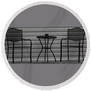 The Patio In Black And White Round Beach Towel by Rob Hans