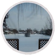 The Patio In Winter Round Beach Towel