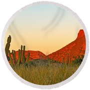 The Peak And Cardon Cacti In The Sunset In San Carlos-sonora Round Beach Towel