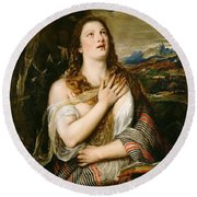 The Penitent Magdalene Round Beach Towel