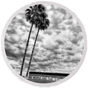 The People Are The City Palm Springs City Hall Round Beach Towel