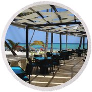The Perfect Breakfast Spot Round Beach Towel