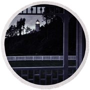 The Perfect Frame For The Heceta Lighthouse Round Beach Towel