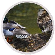 The Perfect Mallard Couple Round Beach Towel