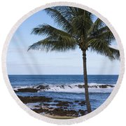 The Perfect Palm Tree - Sunset Beach Oahu Hawaii Round Beach Towel