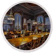 The Periodicals Room At The New York Public Library Round Beach Towel