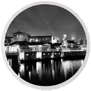 The Philadelphia Waterworks In Black And White Round Beach Towel by Bill Cannon