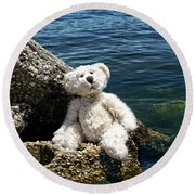 The Philosopher - Teddy Bear Art By William Patrick And Sharon Cummings Round Beach Towel by Sharon Cummings