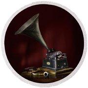 The Phonograph 5 Round Beach Towel