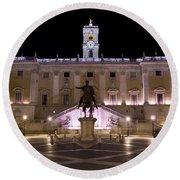 The Piazza Del Campidoglio At Night Round Beach Towel