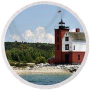 Round Island Lighthouse Mackinac The Picnic Spot Round Beach Towel