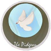 The Pidgeon Cute Portrait Round Beach Towel
