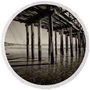 The Pier At Cayucos Round Beach Towel