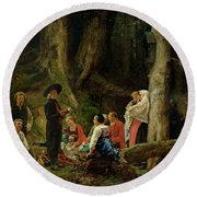 The Pilgrims From The Abbey Of St. Odile Oil On Canvas Round Beach Towel