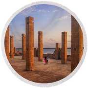The Pillars Of The Earth Round Beach Towel