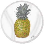 The Pineapple On White Round Beach Towel