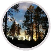 The Pines At Sunset Round Beach Towel