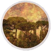 The Pines Of Rome Round Beach Towel