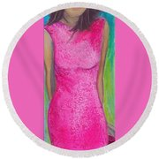 The Pink Dress Round Beach Towel