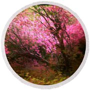 The Pink Forest Round Beach Towel