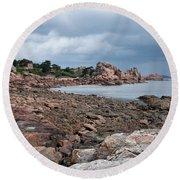 The Pink Granite Coast Brittany Round Beach Towel