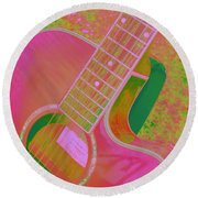 My Pink Guitar Pop Art Round Beach Towel