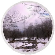 The Pink Winter Light On The Mountain Top Round Beach Towel