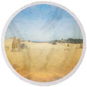 The Pinnacles In Western Australia Round Beach Towel