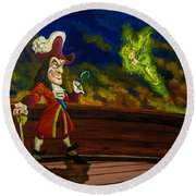 The Pirate And The Fairy Round Beach Towel