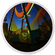 The Pirate Ship And Big Wheel  Round Beach Towel