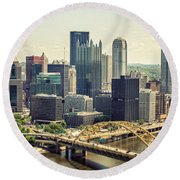 The Pittsburgh Skyline Round Beach Towel by Lisa Russo